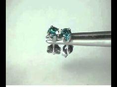 0.40 Karat blaue Diamantohrstecker 585er Weißgold