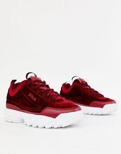 low priced c42ab ff155 Fila – Disruptor Ii Premium – Vinröda träningsskor i velour Sneakers Nike,  Asos, Korgar