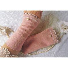 Elegant romantische Stulpen in Altrosa mit Spitzenborte♥