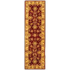 <li>Warm your home decor with this handmade wool rug <li>Hand-tufted traditional rug features a red background with gold border <li>Rug made entirely of 100-percent wool pile, providing comfort and softness to the touch
