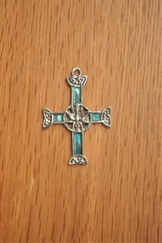 Vintage Celtic Cross Pendant. Metal & Enamel Confirmation Crucifix with Knot Design. by GoldenGully on Etsy