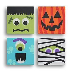 Halloween Blockheads Canvas Wrapped Frame Cute Colorful Decoration Whimsy www. - Halloween Blockheads Canvas Wrapped Frame Cute Colorful Decoration Whimsy www. Deco Haloween, Fröhliches Halloween, Halloween Crafts For Kids, Diy Halloween Decorations, Holidays Halloween, Fall Crafts, Holiday Crafts, Halloween Art Projects, Outdoor Halloween