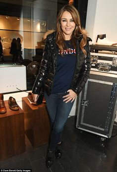 Elizabeth Hurley is casual in a London slogan sweater and vinyl ...