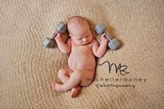 baby photo with dumbbell rattle - LOVE IT!!