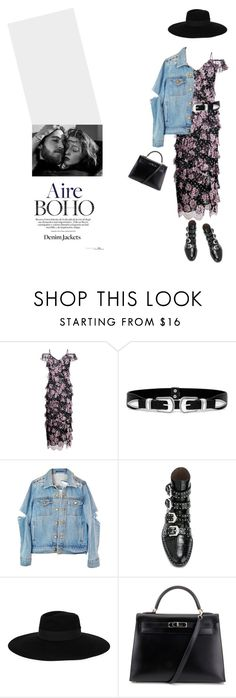 """You don't know me.."" by halaadosariii ❤ liked on Polyvore featuring Alessandra Rich, LULUS, Givenchy, Maison Michel, Hermès, California Love and denimjackets"