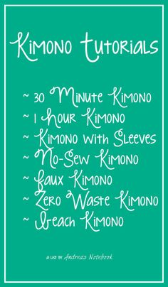 GREAT kimono tutorials! Check them all out!