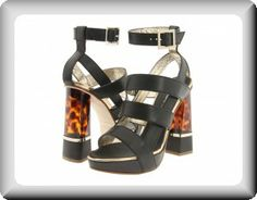 DSquared2 Women's Black Leather Heel Italian Ankle-Strap Evening Platform Special-Occasion Sandals
