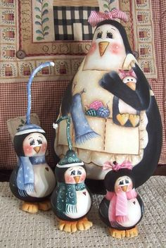 Penquin Mama  and her  3 little ones Gourd   by Paintingonjars