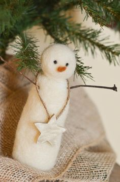 Needle Felted Snowman, Primitive Style with Wooden Painted Star.  He is just beautiful!!!