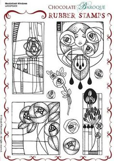 Mackintosh Windows Unmounted Rubber stamp sheet - A5 Part Number UA5SP0459 / February 2014 release from Chocolate Baroque.