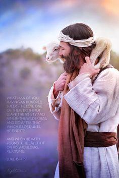 Shoulders Detail with Scripture Pictures Of Jesus Christ, Jesus Christ Images, Image Of Jesus, Lord Is My Shepherd, The Good Shepherd, Jesus Smiling, Jesus Artwork, Jesus Photo, Jesus Painting