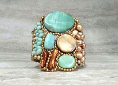 Bold Cuff Bracelet Luxe Boho Cuff in Beach Aqua by SharonaNissan