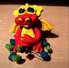 Sculpey clay xmas lights dragon