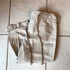 Pre-Owned Motherhood Maternity Stone Linen Cotton Drawstring Khaki Capri Pants M #MotherhoodMaternity #CasualPants