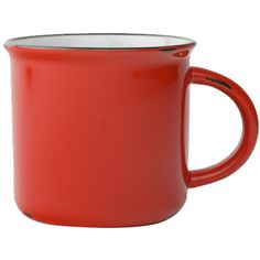 Tinware Mug in Red design by Canvas ($12) ❤ liked on Polyvore featuring home, kitchen & dining, drinkware, filler, coffee mugs, striped mug, red stoneware, vintage stoneware, vintage coffee mugs and red mug