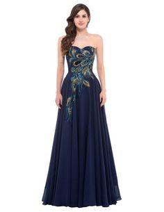 Sexy Elegant A-Line Blue/Yellow Peacock Evening Dress