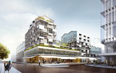 Architecture Paramétrique, Office Building Architecture, Building Facade, Townhouse Exterior, Glass Building, Archi Design, World Cities, Master Plan, Urban Planning