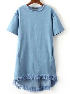 Blue Crew Neck Tassel Denim Dress   MakeMeChic.COM