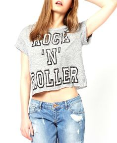 Light Grey Print Short Sleeves T-shirt - Clothing