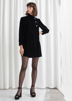 Velvet Floral Crystal Button Mini Dress - Black - Mini dresses - & Other Stories Christmas Party Outfits, Velvet Fashion, Fashion Story, Mode Inspiration, Party Wear, Party Dress, Indigo, Mini Dresses, Ball Dresses