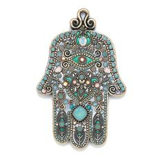 Silver toned extra large wall hamsa with aqua colored stones, handmade at Michal Golan Studios USA Hamsa Art, Hamsa Jewelry, Jewlery, Moroccan Jewelry, Gold Wall Decor, Turquoise Walls, Eye Details, Cats Eye Stone, Silver Walls
