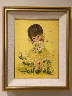 70s big eye oil painting Gloria Murray girl yellows heavy textures framed    eBay