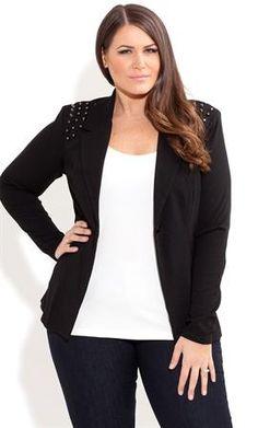Plus Size Stud Shoulder Jacket image