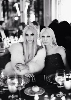 @Cameron Versace: @Kim Freel and Donatella Versace at the #AtelierVersace after party dinner. Image by @Rahi Rezvani #VersaceLovesGaga #gerodrome
