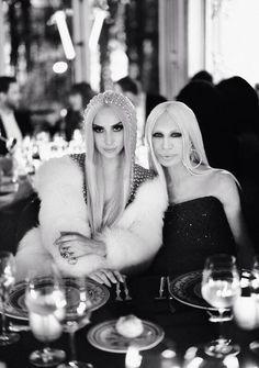 @Cameron Versace: @Kim Freel and Donatella Versace at the #AtelierVersace after party dinner. Image by @Rahi Rezvani #VersaceLovesGaga #gerodrome