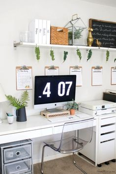 white ikea home office with plants - office organization - Home Office Organization Ideas, Decor and Design Diy Organisation, Office Organization At Work, Office Ideas, Office Themes, Office Hacks, Office Inspo, Office Art, Ikea Home Office, Cozy Home Office
