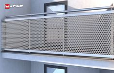 Balcony Grill Design, Balcony Railing Design, Metal Railings, Staircase Railings, Stainless Steel Stair Railing, Glass Stairs, Glass Railing, Perforated Metal Panel, Outdoor Stair Railing