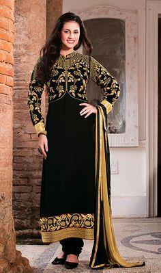 USD 77.72 Black Georgette Floral Patch Work Long Suit 37663