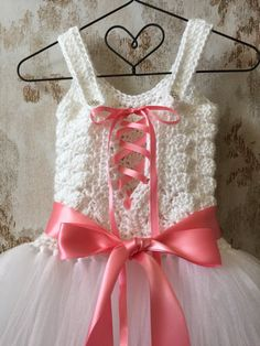 Blanca flor tutu Vestido de niña, vestido de las niñas, vestido de ganchillo, tutú del corsé, tutu por encargo, vestido de niño, vestido de bebé