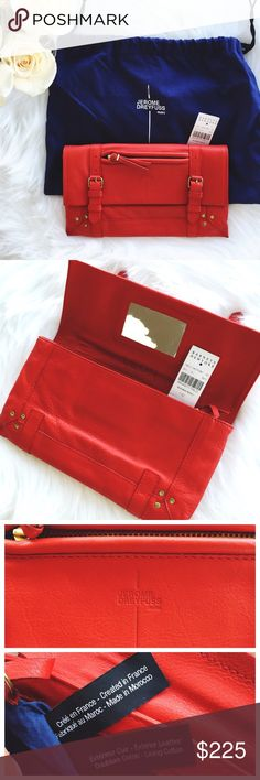 """Authentic Jérôme Dreyfuss Leon Leather Clutch Authentic. High-end excellent condition Jérôme Dreyfuss Leon Leather Clutch in Red. Supple calfskin leather flap front clutch with front zipper pocket, buckle tab detail and magnetic closure. Gold studs at front corners. Fabric lined interior with zip pocket, removable key fob and mini flashlight. Leather bound mirror under front flap. This clutch is perfect for spring and summer!   5.75"""" high x 10"""" wide purchased at Barneys Jérôme Dreyfuss Bags"""