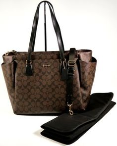 Coach Black Brown Diaper Bag