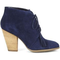 Sole Society Tallie Suede Tassel Bootie (145 BRL) ❤ liked on Polyvore featuring shoes, boots, ankle booties, heels, booties, new navy, lace up heel boots, stacked heel bootie, navy ankle boots and stacked heel booties