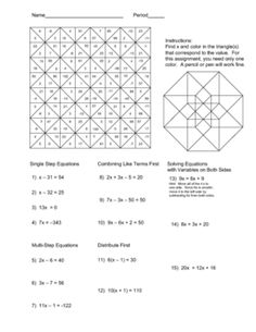 Worksheets Solving Equations With Variables On Both Sides Worksheet pinterest the worlds catalog of ideas solving equations color worksheet problems include single step two combining like terms