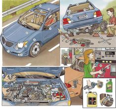 Car parts and car maintenance vocabulary. English lesson in PDF free