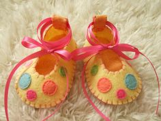 Light Yellow Ballet Flats with Confetti Polka Dots - Felt Baby Shoes - Can Be Personalized