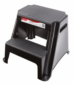 Rubbermaid RM-P2 2-Step Molded Plastic Stool with Non-Slip Step Treads, 300-Pound Capacity, Black Finish ** Tried it! Love it! Click the image. : Garden cart