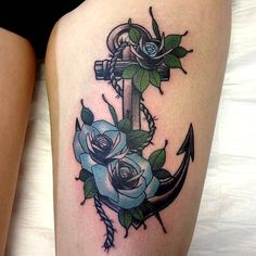 anchor with blue roses (just like the roses, not the anchor)