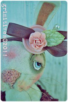 Grimitive Folk Art Primitive Valentine Bunny Rabbit ... by doll artist Kaf Grimm of GRIMITIVES