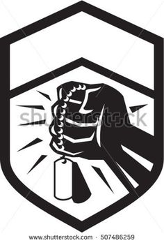 Illustration of a clenched fist clutching holding dogtag set inside shield crest done in black and white retro style. Retro Vector, Military Art, Retro Style, Memorial Day, Dog Tags, Retro Fashion, Retro Illustrations, Vector Stock, Black And White