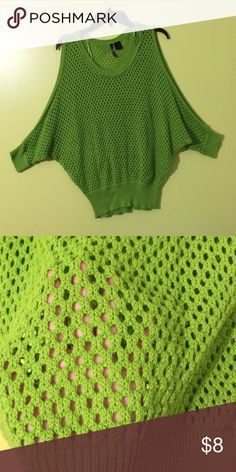 Green sweater Green cute sweater, it's super comfy and the shoulders are opened Sweaters Shrugs & Ponchos