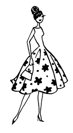 Embroidery Pattern from Anne Keenan Higgins. Fashion Illustration Sketches, Art Drawings Sketches, Fashion Sketches, Cute Drawings, Fashion Model Drawing, Silhouette Images, Diy Art, Fashion Art, Illustrators