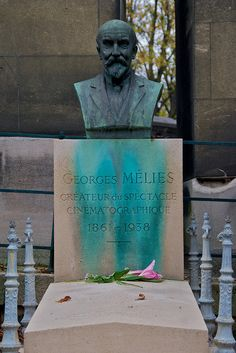 George Melies Grave, Pere Lachaise Cemetery    Bust and Tombstone of George Melies, Cinemaphotographer, Pere Lachaise Cemetery, Paris