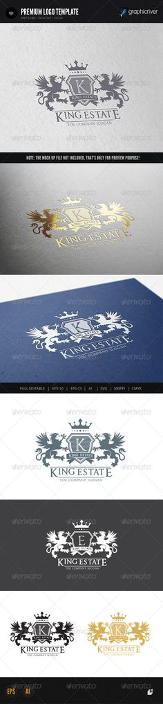 King Real Estate II — Vector EPS #tiger #emblem • Available here → https://graphicriver.net/item/-king-real-estate-ii/7391035?ref=pxcr