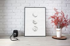 Moon phase pointillism ink wall art | Minimalist art print | Minimalistic art print | Wall art poster | Ink art home decor Zen Art, Pointillism, Surface Pattern Design, Minimalist Art, Photo Art, Wall Art Prints, Giclee Print, Moon, Ink