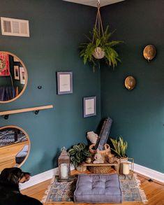Yoga, zen, green, Barre, yoga space at home, zen space at home, fern, Barre space at home, mediation at home, green room, candles #ExerciseatHome #HomeEnergySpaces