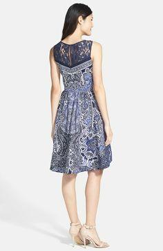 Gabby Skye Lace Yoke Print Fit & Flare Dress | Nordstrom